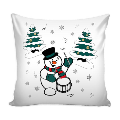 Snowman With Snare Drum Pillow Cover