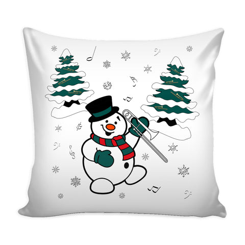 Snowman With Trombone Pillow Cover