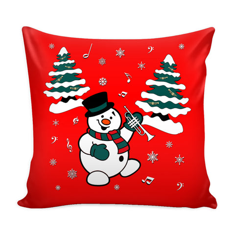 Snowman With Trumpet Pillow Cover