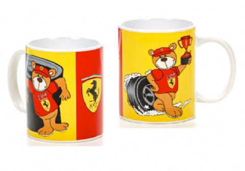 MUG Ferrari Racing Teddy NEW! Formula One 1 F1 Red & Yellow Comes in Gift Box