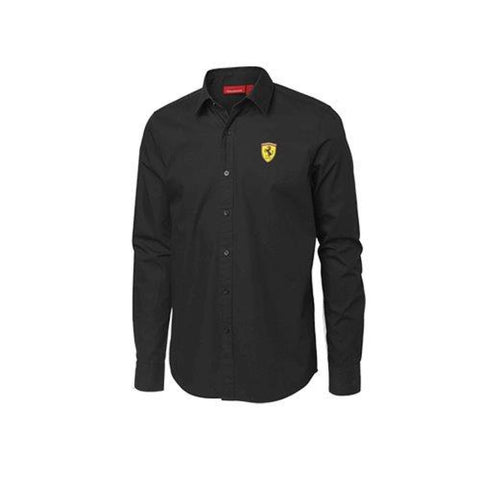 SHIRT Mens Scuderia Ferrari Classic Cotton Longsleeve Formula One 1 NEW Black