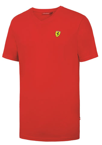 T-SHIRT Mens Ferrari Classic Cotton V-Neck Tee F1 Formula One 1 NEW! Red