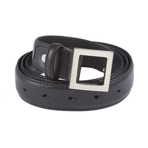 BELT Leather Black Made in Italy for Lancia NEW! Steel Buckle Comes in Gift Box