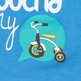 T-SHIRTS X 2 Kids Baby Do-Design Moped Bike Scooter Toddler White & Blue NEW!