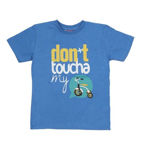 T-SHIRT Childs Kids Do-Design Moped Bike Don't Toucha Scooter Blue NEW!