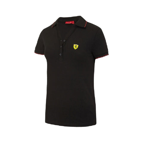 POLO Ladies Ferrari Cotton Pique Poloshirt F1 Formula One Black
