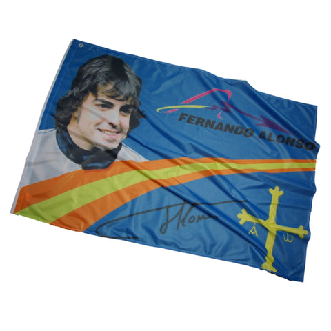 Flag Formula One 1 Renault F1 Team NEW! Fernando Alonso Face Blue 132cm x 89cm