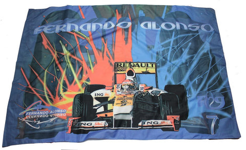 Flag Formula One 1 Renault ING F1 Team NEW! Blue With Sparks Fernando Alonso 1