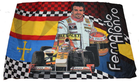 Flag: Formula One 1 Renault ING F1 Team NEW! Chequered & Spanish Flags Alonso 2