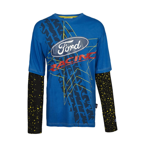 T-Shirt Adult Rally Cross Longsleeve OMSE Ford Fiesta Extreme NEW Blue Black