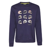 SWEATSHIRT Crew Neck Adult  Bike MotoGP Valentino Rossi Helmet NEW! Navy
