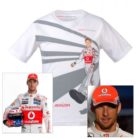 T-SHIRT CAP kids Formula One 1 McLaren Mercedes F1 Team NEW J.Button Cartoon