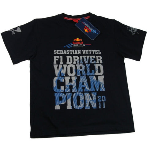T-SHIRT kids Formula One 1 F1 Red Bull Vettel Driver World Champion 2011 NEW