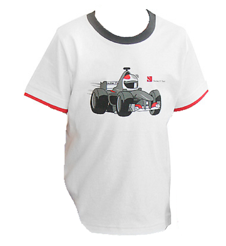 T-Shirt Sauber F1 kids Cartoon r White Grey Collar