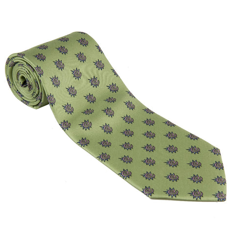 TIE 100% Silk Necktie Fiat WRC Rally Made By Conte of Florence Italy New! Green