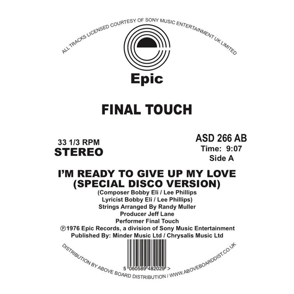 FINAL TOUCH - I'M READY TO GIVE UP MY LOVE SPECIAL DISCO VERSION