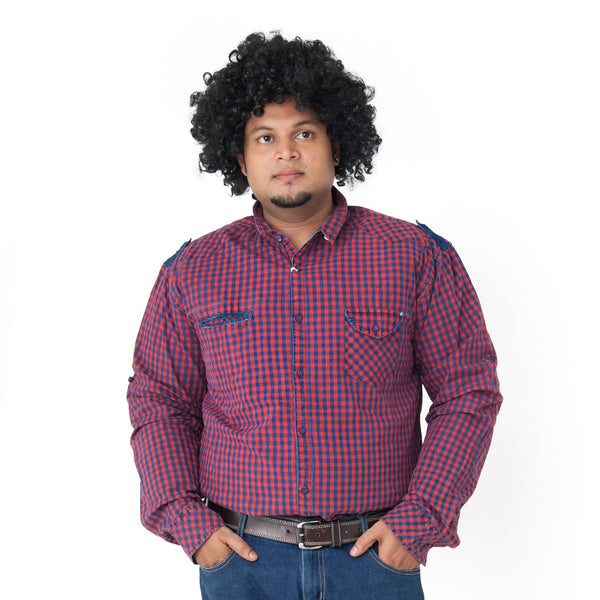 Men's Plus Pink Blue Checked Shirt