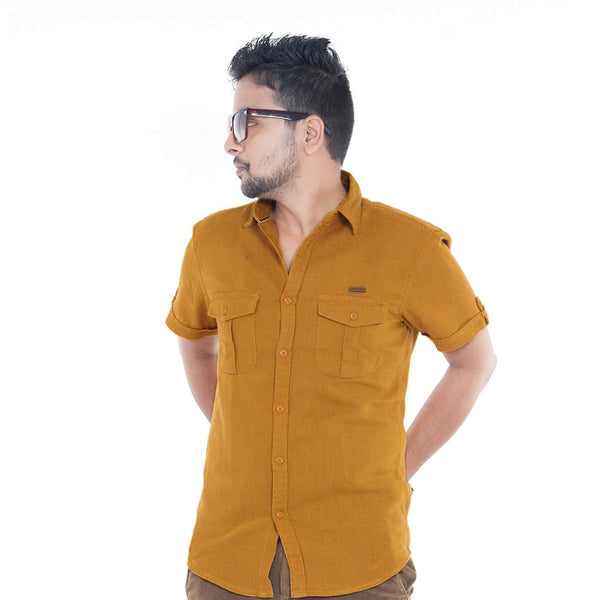 Men's Solid Casual Shirt - Brown Orange