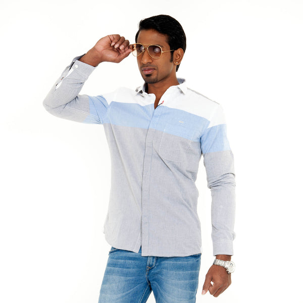 Men's Striped Casual Shirts - Blue & Ash
