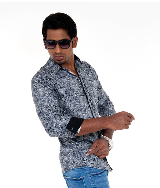 Men's Printed Casual Shirt - Black & white