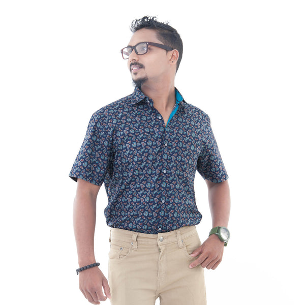 Men's Printed Casual Shirt - Blue