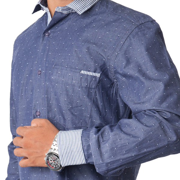 Men's Dotted Casual Shirt - Blue