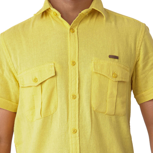 Men's Solid Casual Shirt - Yellow