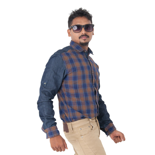 Men's Checked Casual Shirt - Brown & Blue