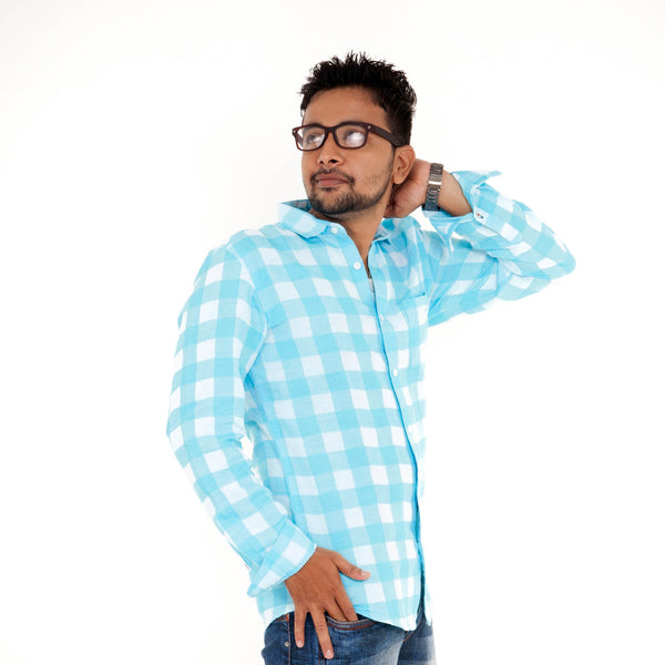 Men's Checked Casual Shirt - Blue