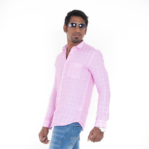 Men's Checked Casual Shirt - Rose