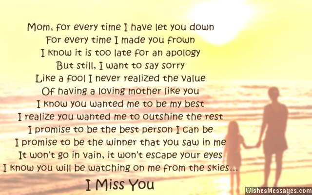 I miss you mom - Happy Mothers Day