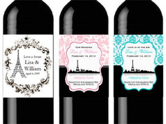 Paris French Eiffel Tower Wine Bottle Labels Stickers