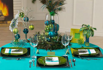 Peacock Table Setting Idea