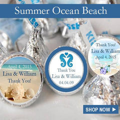 Summer Ocean Beach Wedding Party favors and Invitations