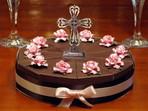 Communion Confirmation 12 Chocolate Favor Cake Centerpiece