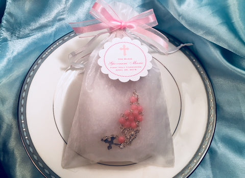 Communion Confirmation Jordan Almonds Mini Rosary in Organza Bag Favors