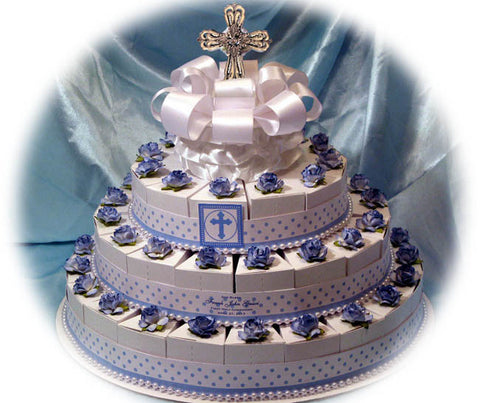 Baptism Christening Blue White Favor Cake Centerpiece - 50 rosaries