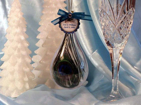 Peacock Feather Wedding Teardrop Ornaments favors