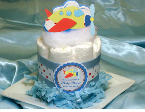 Baby Shower Airplane Plane Diaper Cake Centerpiece