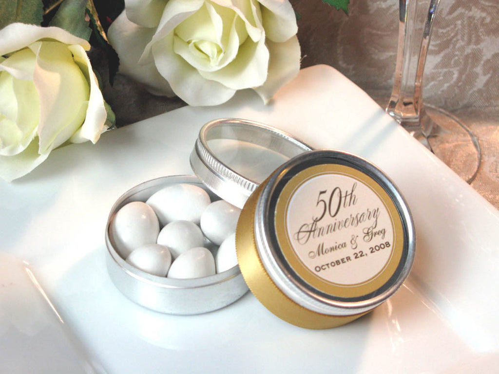 Anniversary Party Gift Round Mini Candy Favor Tins – Pavia Party Favors