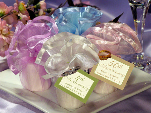 Anniversary Party Gift Wavy Tulle Candle Favors