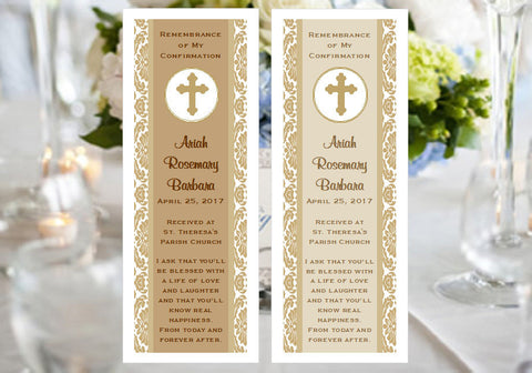 Communion Confirmation Gold Damask Gold Cross Bookmarks Favors