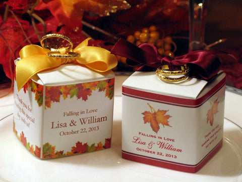 Autumn Fall Leaf Wedding DIY Favor Boxes - 2 inch Square