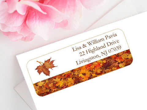 Autumn Fall Leaf Wedding Mailing Address Labels Stickers