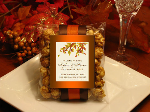 Autumn Fall Leaf Wedding Caramel Corn Favors