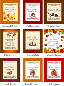 Autumn Fall Leaf Wedding Hot Apple Cider Mix Favors