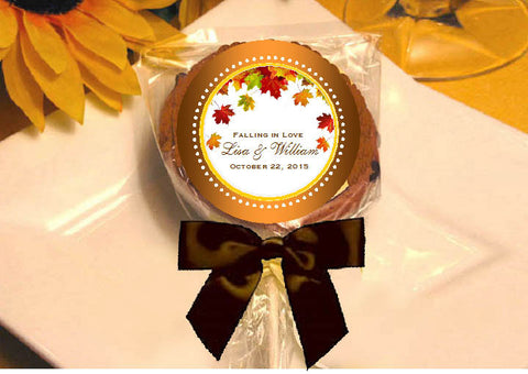 Autumn Fall Leaf Wedding Cookie Pops Favors