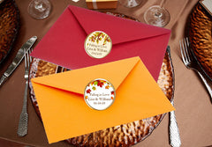 Autumn Fall Leaf Wedding Envelope Seals Stickers Labels