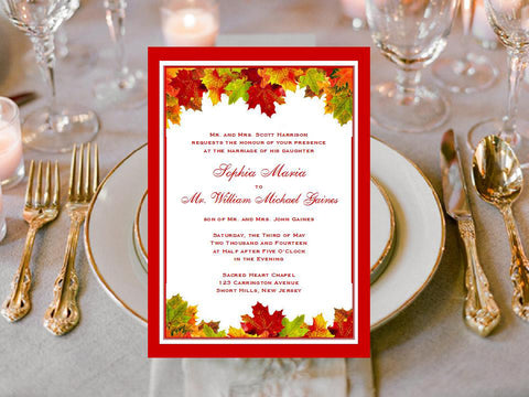 Autumn Fall Leaf Wedding Invitations Announcements