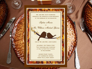 Autumn Fall Burlap Lace Wood Invitations Announcements